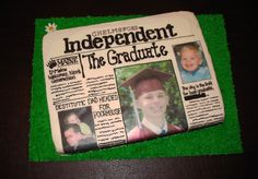 Graduation - local newspaper - Cake for my nephews graduation party.. yellow cake iced in BC with edible images. Welcome mat is royal icing and daisy is fondant.