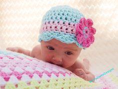 Baby crochet hat, Baby girls crochet hat, cotton crochet hat, spring, summer baby hat, pink, turquoise baby hat, Baby hat, baby flower hat,