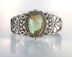 Navajo Sterling silver green Turquoise Cuff bracelet, Fred Harvey era southwestern Native American-*-*-175