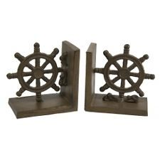 Nautical Metal Ships Wheel Bookends for Home Office or Boat Decore