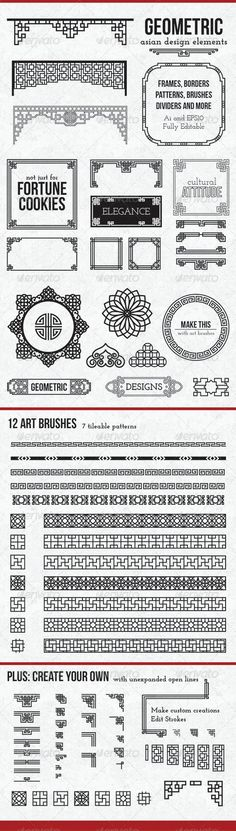 frames and borders Geometric Asian Design Elements These vectors are traditional Asian patterns, updated with a modern twist. This complete package includes premade frames and borders, as well as customizable elements, 12 pattern brushes Web Design, Logo Design, Graphic Design, Type Design, Vector Design, Chinese Design, Asian Design, Chinese Style, Art Deco