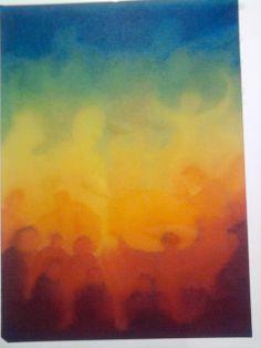 l'arc en ciel - peinture humide en humide