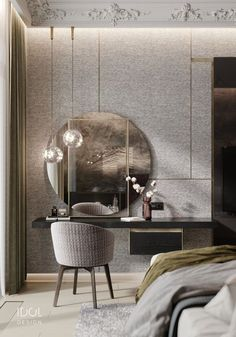 Fabric panels to create a cozy bedroom - it s a great tool Modern guest bedroom for the project Krestovskiy de luxe - Hotel Room Design, Luxury Bedroom Design, Master Bedroom Design, Luxury Home Decor, Home Bedroom, Home Interior Design, Bedroom Decor, Luxury Interior, Dressing Table Design