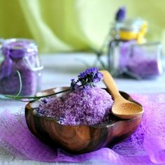 Lavender Bath Salts—Homemade Gift For Your Valentine. 1 cup Epsom salt, 1/2 cup Sea salt, 2 tablespoons dried lavender buds, 10 to 15 drops of lavender essential oil, a few drops of lavender soap colorant/a small pinch if using powdered ones (optional)