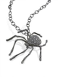 Oxidized 18k gold Spider necklace with 2.62 cts. t.w. rose-cut diamonds and 1.45 cts. t.w. melee;