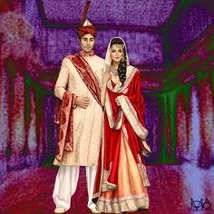 Traditional Indian/Paki Wedding Fashion Illustration (Have been working on this piece for a very long time, finally it's complete.)