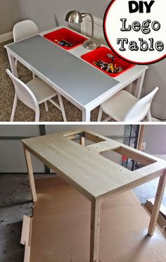 Another table with bins cut into the table top. Easily removable for cleaning.