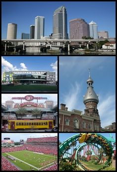 Images from top, left to right: Skyline of Downtown Tampa, Tampa Bay Times Forum, Ybor City, Henry B. Plant Museum, Raymond James Stadium, Busch Gardens Tampa BayBusch Gardens Tampa Bay