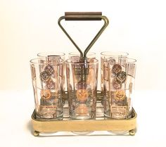 Gold Embossed Highball Glasses with Carrying Caddy -- Midcentury Barware -- Midcentury Modern -- Set of Six -- 12 Ounce Tumblers CA1500