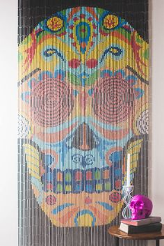 Sugar Skull Bamboo Curtain