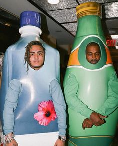 Kanye and Lil Pump dressed as water bottles Aesthetic Collage, Aesthetic Photo, Aesthetic Pictures, Rapper Wallpaper Iphone, Rap Wallpaper, Kanye West Wallpaper, Retro Wallpaper, Bedroom Wall Collage, Photo Wall Collage
