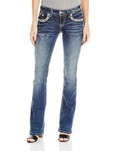 Miss Me Women's Mid Rise Beaded Back Pocket Boot Cut Denim Jean Mid rise boot cut denim jean with argyle inspired bead design and front pocket bead accentsFeaturing logo hardware detailUnique whisker wash detailing  7 for all mankind, adriana goldschmied, Bootcut, Cigarette, Denim, dl1961, Hollister, Hudson, hudson jeans, j brand, jeans, Jeggings, levi, miss me jeans, paige denim, paige jeans, river island, Skinny, super skinny, Superdry, true religion