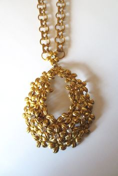 1930s Gold Pendant Necklace by STAR Rhinestones Flowers Gold Metal Chain 20 Inch Vintage Old Hollywood Glam 50s Jewelry Jackpot Jen by JackpotJen on Etsy