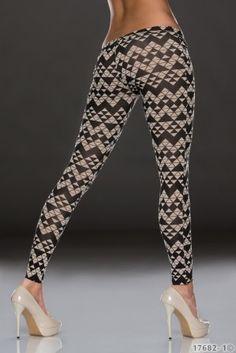 Dámské vzorované legíny Fashion - béžovo - černé