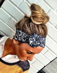 Gray Stretchy Lace Headband Silver Vintage by ThreeBirdNest Silver Headband, Lace Headbands, Wedding Headband, Stretchy Headbands, Wedding Hair, Messy Hairstyles, Pretty Hairstyles, Bandana Hairstyles, Lace Flowers
