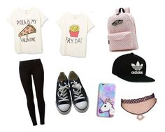 Pizza Forevah *-* by angela-g-fuentes on Polyvore featuring moda, Dorothy Perkins, Converse, Vans, adidas Originals and OlaKAse