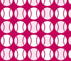 Pink Tennis Balls fabric and wallpaper by audreyclayton on Spoonflower - custom fabric