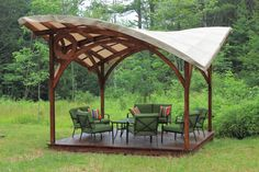 The pergola kits are the easiest and quickest way to build a garden pergola. There are lots of do it yourself pergola kits available to you so that anyone could easily put them together to construct a new structure at their backyard. Small Pergola, Pergola Attached To House, Deck With Pergola, Wooden Pergola, Covered Pergola, Outdoor Pergola, Backyard Pergola, Pergola Plans, Pergola Kits
