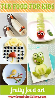 "15 Fun Food Art for Kids Ideas - Give kids the ""tools"" and the pic and they can create them on their own!:"