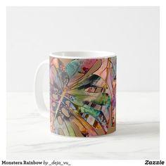 Monstera Rainbow Coffee Mug Rainbow Coffee, Mug Designs, Party Hats, Coffee Mugs, Art Pieces, Pastel, Beige, Watercolor, Create
