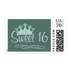 Pretty Crown Mint Green Sweet 16 Birthday Stamp