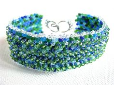 Aqua Blue Green Embellished Peyote Weave Wide Cuff Bracelet - pinned by pin4etsy.com