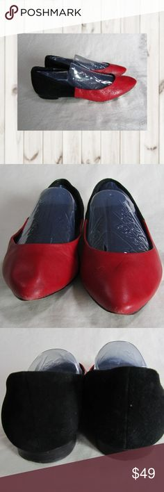 THEORY black and red leather flats THEORY black and red leather pointed toe flats. Red is leather, black is suede. Size 7 1/2M. Nice pre-owned condition. Does show signs of wear. Check pics carefully. Original retail price of $238.00.   Smoke and pet free home  (S25-PM,EB) Theory Shoes Flats & Loafers