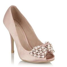 Pale pink satin peep toe court shoe with a bow made from pearl and diamante.