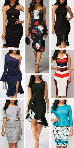 Really like all of these styles for work/elegant occasions. I just don't like the colors on the bottom right outfit Latest African Fashion Dresses, Women's Fashion Dresses, Dress Outfits, Casual Dresses, Short Dresses, Elegant Dresses For Women, Beautiful Dresses, Office Fashion Women, Casual Chic Style