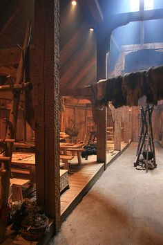 The inside of a longhouse (Lofotr Viking Museum)