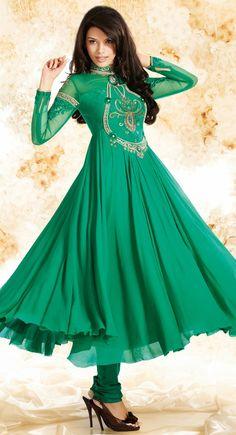 Contemporary Jade Green #Salwar #Kameez @http://www.maalpani.com/latest-arrivals.html