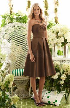 Plain A-line Pleated Sweetheart Satin Zipper Bridesmaid Dress