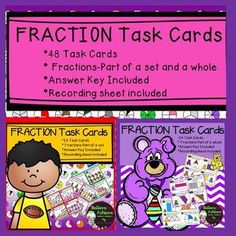 Save 20% by buying this Fraction bundle of 48 task cards with parts of a set and parts of a whole!