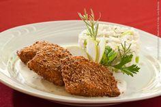 Cantina Mamarana (jantar)    Salmon crocante  Cortes de salmão empanados com gergelim, risoto de maça e aipo e molho de gorgonzola al vino
