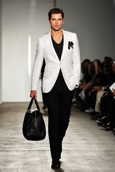 Black Trousers with a V-Neck Tee & Elegant White Jacket