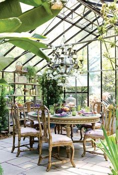 Someday I will have my formal dining room be a green house/atrium dining