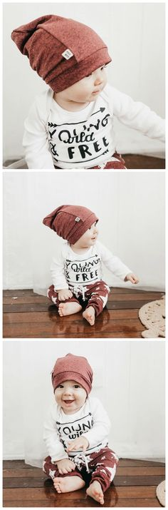 Adventurous baby boy pictures, cool hipster baby boy outfit with beanie type hat and sweatpants with star print #hipsteroutfits