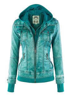 LL Womens Hooded Faux leather Jacket at Amazon Women's Coats Shop | Turquoise