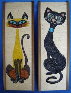 2 ORIGINAL MID CENTURY MODERN MOSAIC GRAVEL ART SIAMESE CAT RETRO WALL PICTURES