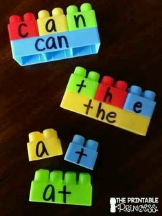 Spelling with legos.