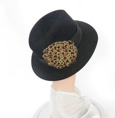 Woman's fedora hat, vintage black with feathers, Poland by TheVintageHatShop on Etsy
