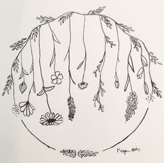 New Ideas For Flowers Wreath Drawing Simple Drawing Borders, Outline Drawings, Ink Pen Drawings, Doodle Drawings, Easy Drawings, Doodle Art, Easy Flower Drawings, Simple Flower Drawing, Floral Drawing