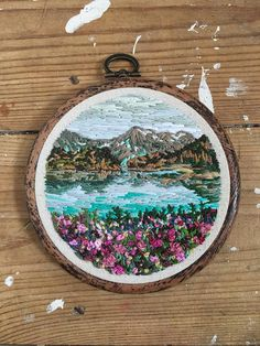 Mountain reflections embroidered landscape