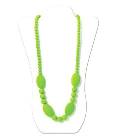 Give little ones something to chew on with this chic teething necklace. Free of non-toxic materials, it's also crafted from food-safe silicone that's perfectly soft for Baby's tender gums, and a safety clasp automatically separates when tugged—that's  what we call functional fashion!