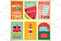 Summer Time Posters Set 3 by elfivetrov on @creativemarket