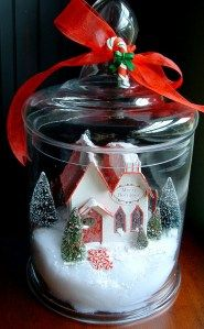 Put pieces of GeeGee's christmas village in apothecary jars. Could also fill jars with candy canes, peppermints, pinecones, ornaments, bells, poinsettias...