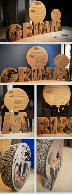 GRIMM a la Catalana: Projecte expositiu itinerantTravelling exhibition that shows the differences in the original stories comparing them GRIMM Catalan versions. Presentation made with cardboard to facilitate weight during transport, as it is an exhibitio… Design Expo, Design Fonte, Event Design, Design Ideas, App Design, Exhibition Display, Museum Exhibition, Exhibition Space, Exhibition Ideas
