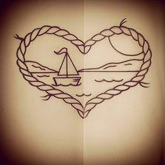 Just Jen Tattoos - Sailboat heart rope ocean