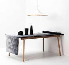 Black and white decor: M8 table, design Kasper Nyman, Studio Helsinki / Grad cotton fabric, design Pasi Kärkkäinen, Studio Helsinki / Memories lamp, design Kirsi Enkovaara / Icecube holder, cooler and decanter, Menu.