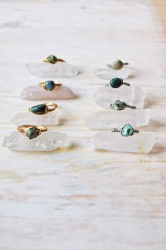 Natural Arizona Turquoise Wire Wrapped Ring--Gold or Silver